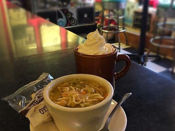 Chicken Noodle Soup and Hot Chocolate